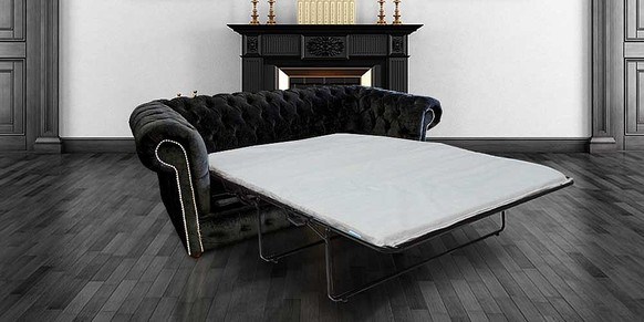 Chesterfield 3 Seater Settee Black Fabric SofaBed Offer