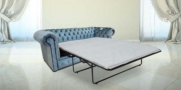 Chesterfield 3 Seater Settee Boutique Sky Velvet SofaBed Offer