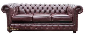 Chesterfield 3 Seater Settee Sofa Bed Old English Red Brown