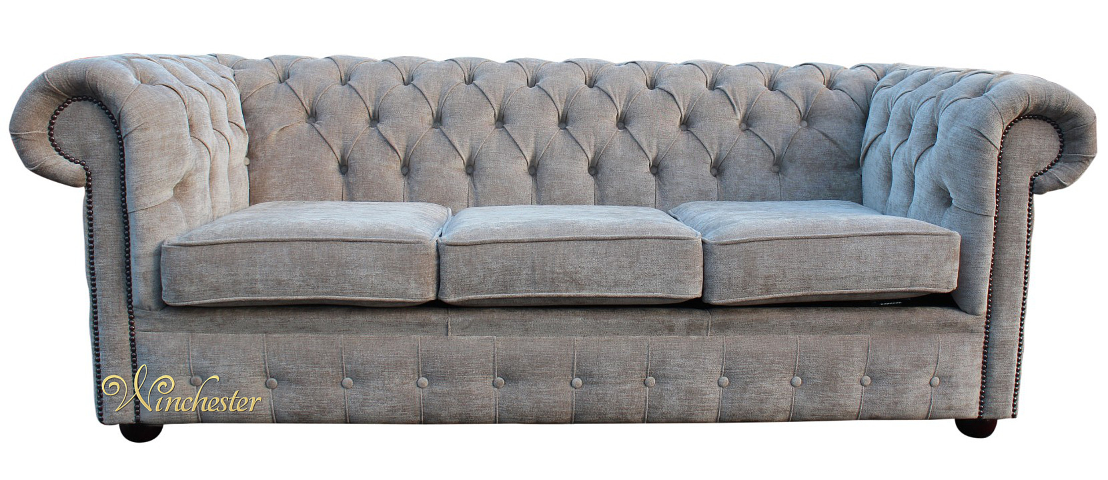 Chesterfield 3 Seater Settee Sofa Bed Ritz Mink Fabric