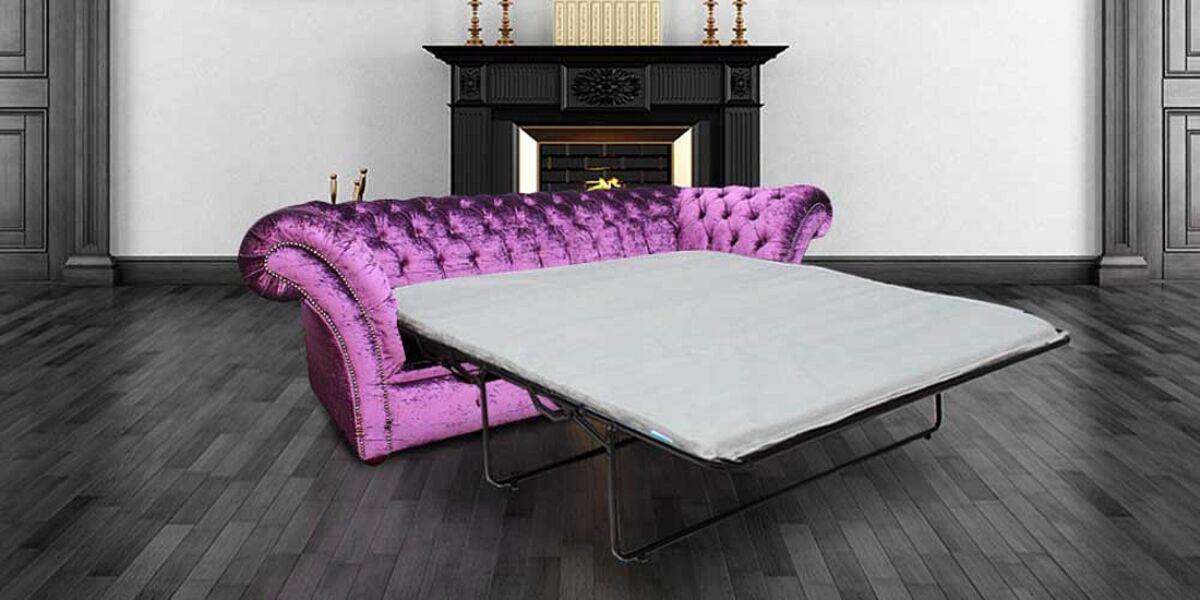 Chesterfield Calvert Purple 3 Seater SofaBed Settee Boutique Crush Velvet Fabric