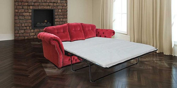 Chesterfield Era 3 Seater Settee Traditional Chesterfield Sofa Bed Rouge Red Fabric