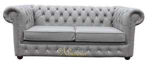 Chesterfield 2 Seater Swarovski CRYSTALLIZED™ Diamond Moon Mist Leather Sofa Offer