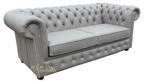 Chesterfield 2 Seater Sofa Bed Swarovski CRYSTALLIZED™ Diamond Moon Mist Leather Offer
