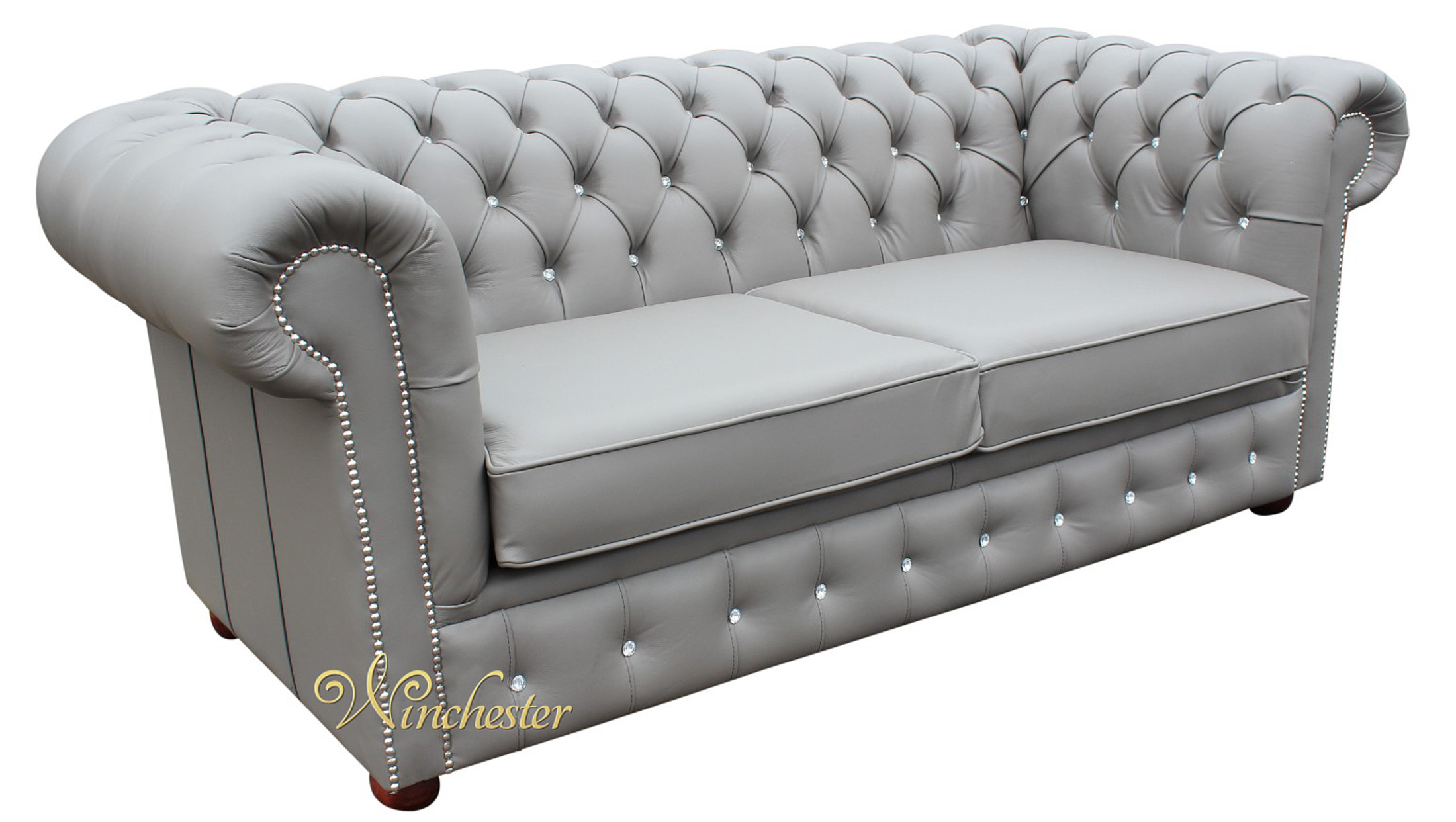 Picture of: Chesterfield 2 Seater Sofa Bed Swarovski Crystallized Diamond Moon Mist Leather Offer