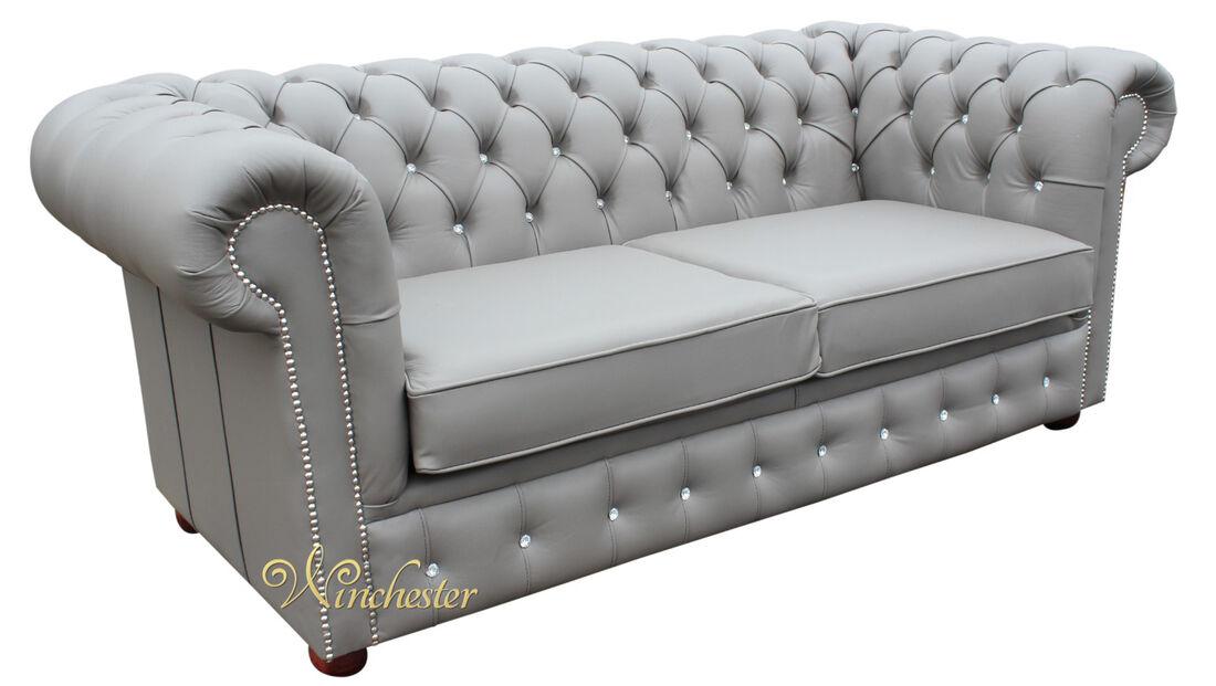 Chesterfield Swarovski Crystal Diamante Leather Sofa Wc