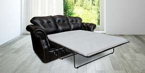 Era Crystal Sofabed Settee Traditional Chesterfield Black Leather