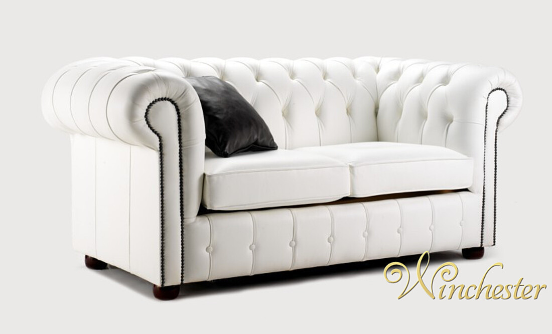 Chesterfield Egerton Leather Sofa Uk Manufactured 2 Seater White Wc