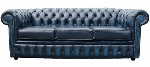 Chesterfield 3 Seater Antique Blue Leather Sofa Offer