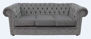 Chesterfield 3 Seater Settee Pimlico Grey Fabric Sofa Offer