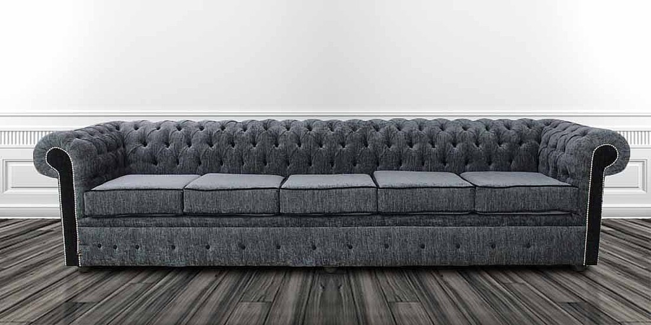 Chesterfield 5 Seater Settee Carlton Charcoal And Black Fabric Sofa Offer |  DesignerSofas4U