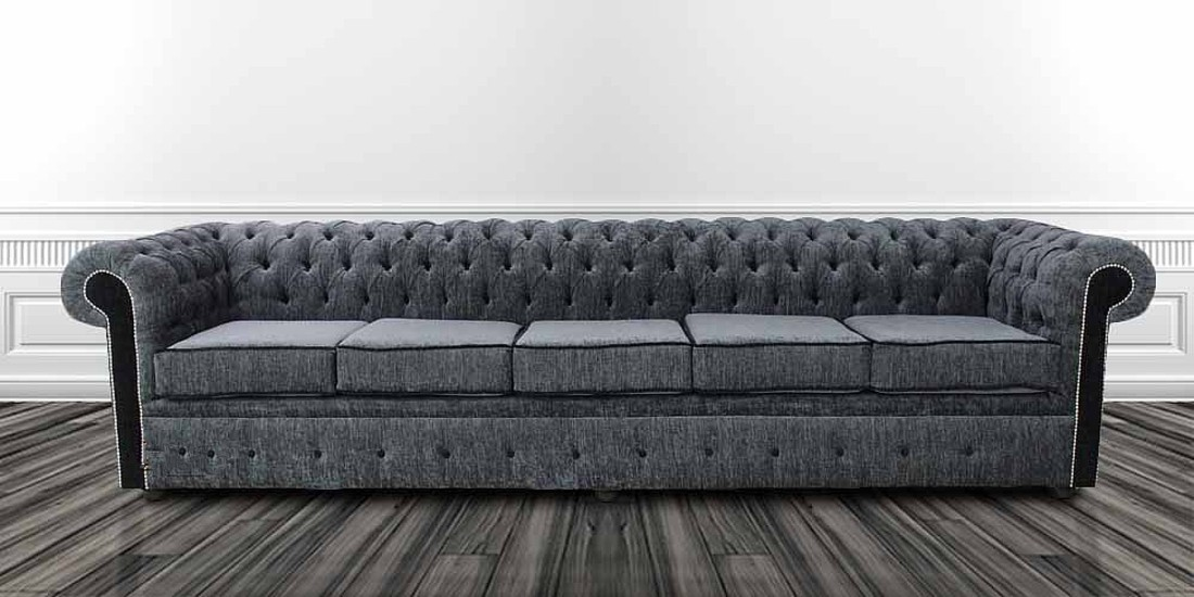 Chesterfield 5 Seater Settee Carlton Charcoal And Black Fabric Sofa ...