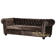 Chesterfield Brown Velvet 3 Seater Sofa Settee