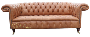 Chesterfield Chatsworth 3 Seater Leather Sofa Old English Saddle