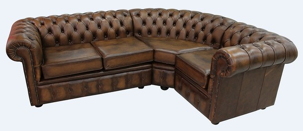Chesterfield Corner Sofa 2 Seater 1 Antique Tan Leather