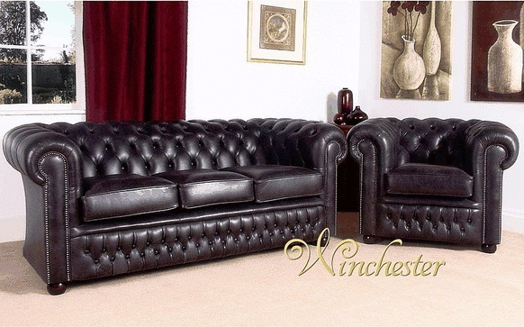 Chesterfield Egerton 3 + Club Chair Leather Sofa UK Manufactured Old English Black Leather