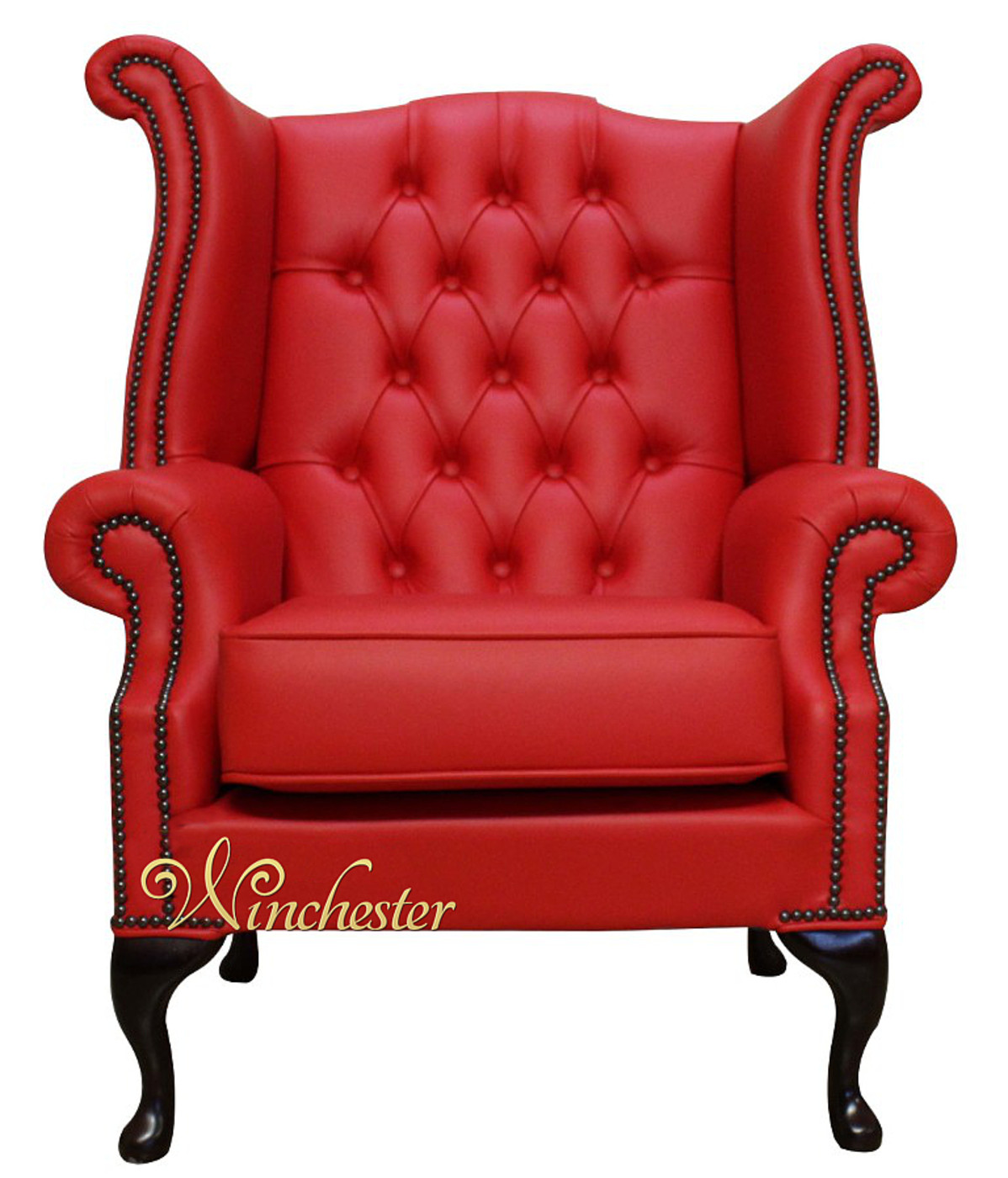 Chesterfield Flame Red Leather Armchair Wc