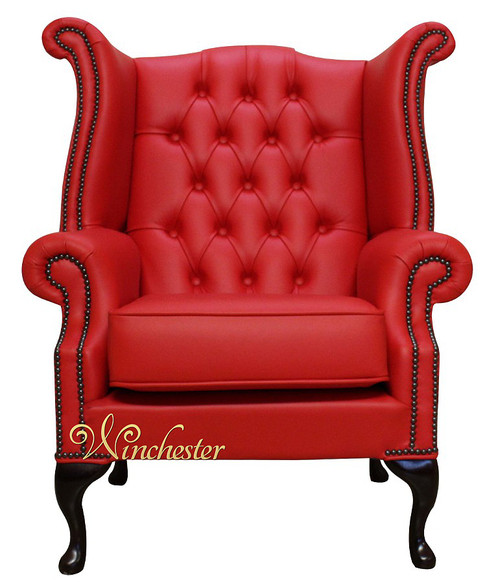 Chesterfield Queen Anne High Back Wing Chair UK Manufactured Flame Red Leather