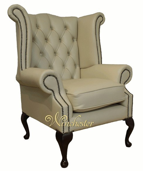 Chesterfield Queen Anne High Back Wing Chair UK Manufactured Ivory