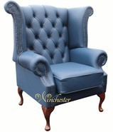 Chesterfield Queen Anne High Back Wing Chair UK Manufactured Majolica Blue Leather