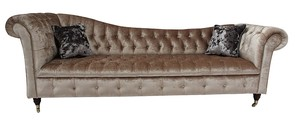 Chesterfield Regency Chaise Sofa Shimmer Mink Velvet