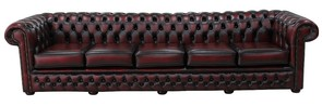 Chesterfield Winchester 5 Seater Settee Antique Oxblood Leather Sofa Offer