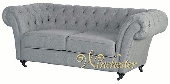 Grey 2 Seater Fabric Chesterfield Sofa
