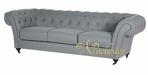Grey 3 Seater Fabric Chesterfield Sofa