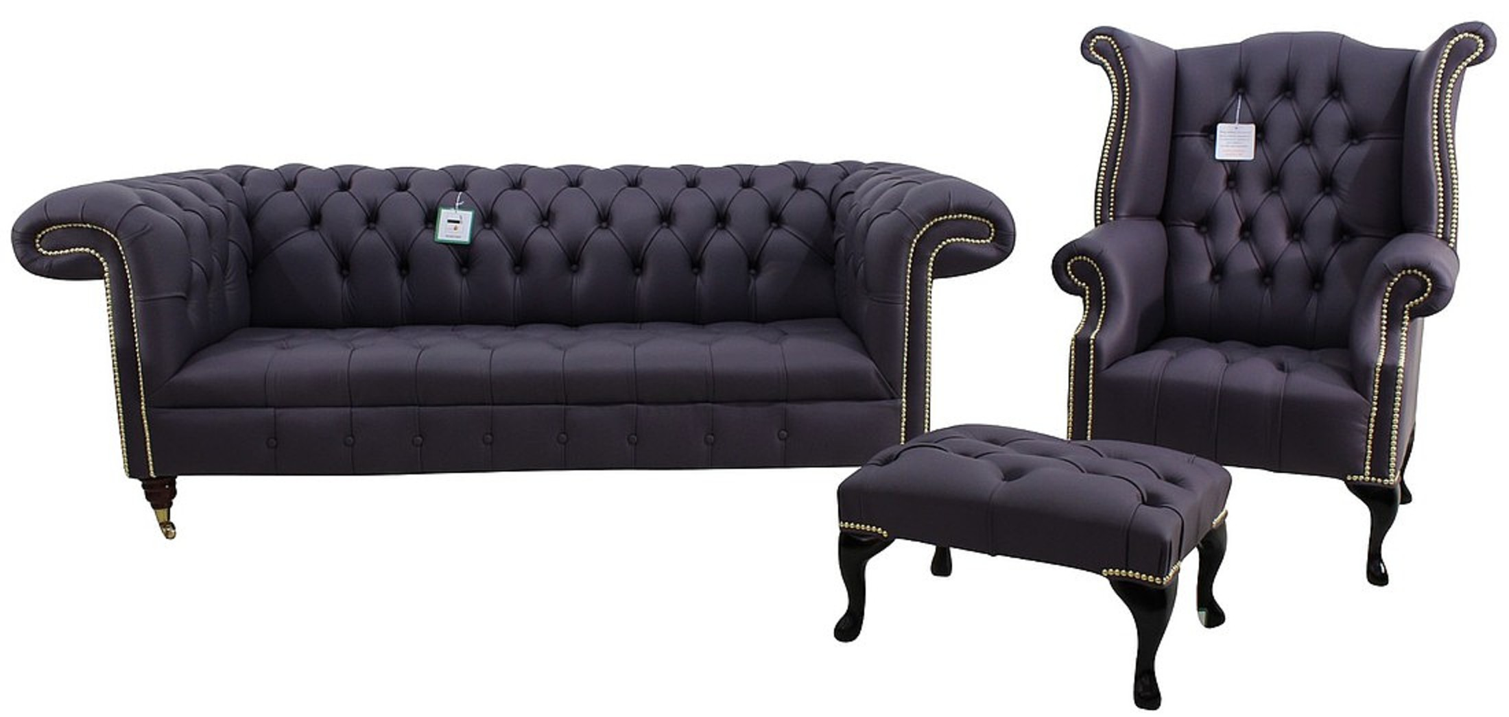 Chesterfield 1857 Suite 3 Seater Sofa + Queen Anne Wing Chair + Footstool  Amethyst Purple Leather