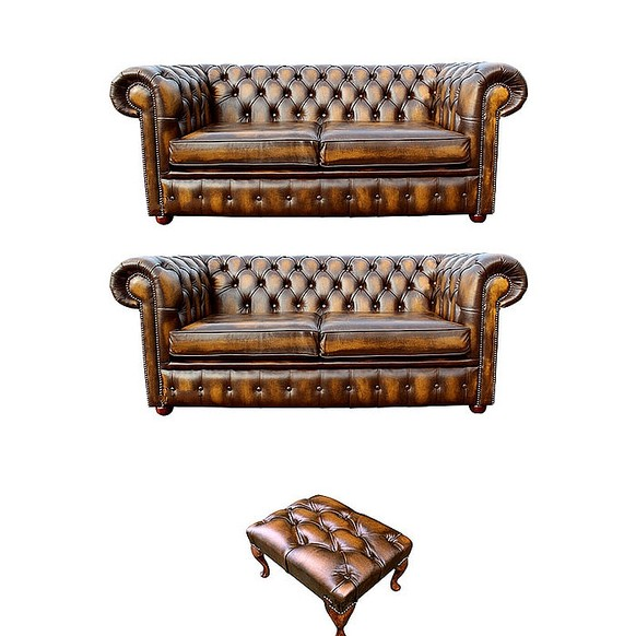 Chesterfield 2+2+footstool Leather Sofa Offer antique Gold leather
