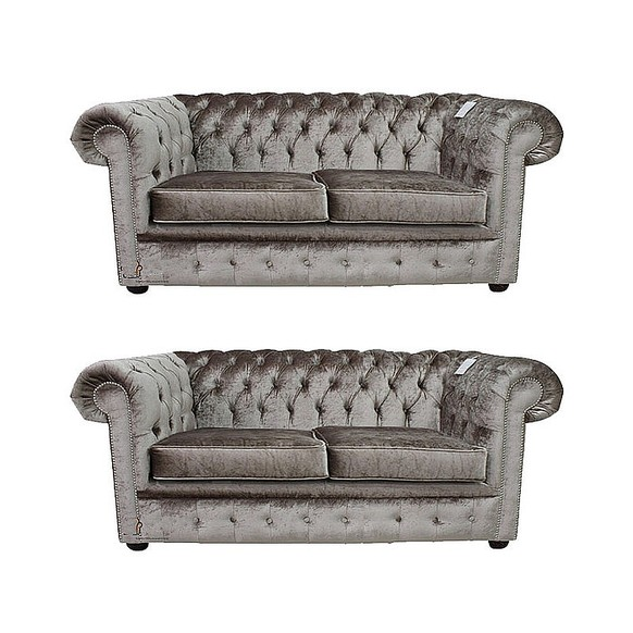 Chesterfield 2 Seater + 2 Seater Boutique Beige Velvet Sofa Suite Offer
