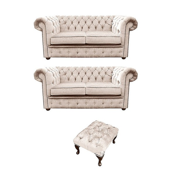 Chesterfield 2 Seater + 2 Seater+Footstool Settee Harmony Ivory Velvet Sofa Suite Offer