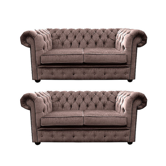 Chesterfield 2 Seater + 2 Seater Settee Harmony Charcoal Velvet Sofa Suite Offer