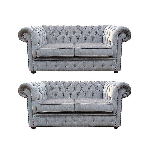Chesterfield 2 Seater + 2 Seater Settee Harmony Dusk Velvet Sofa Suite Offer