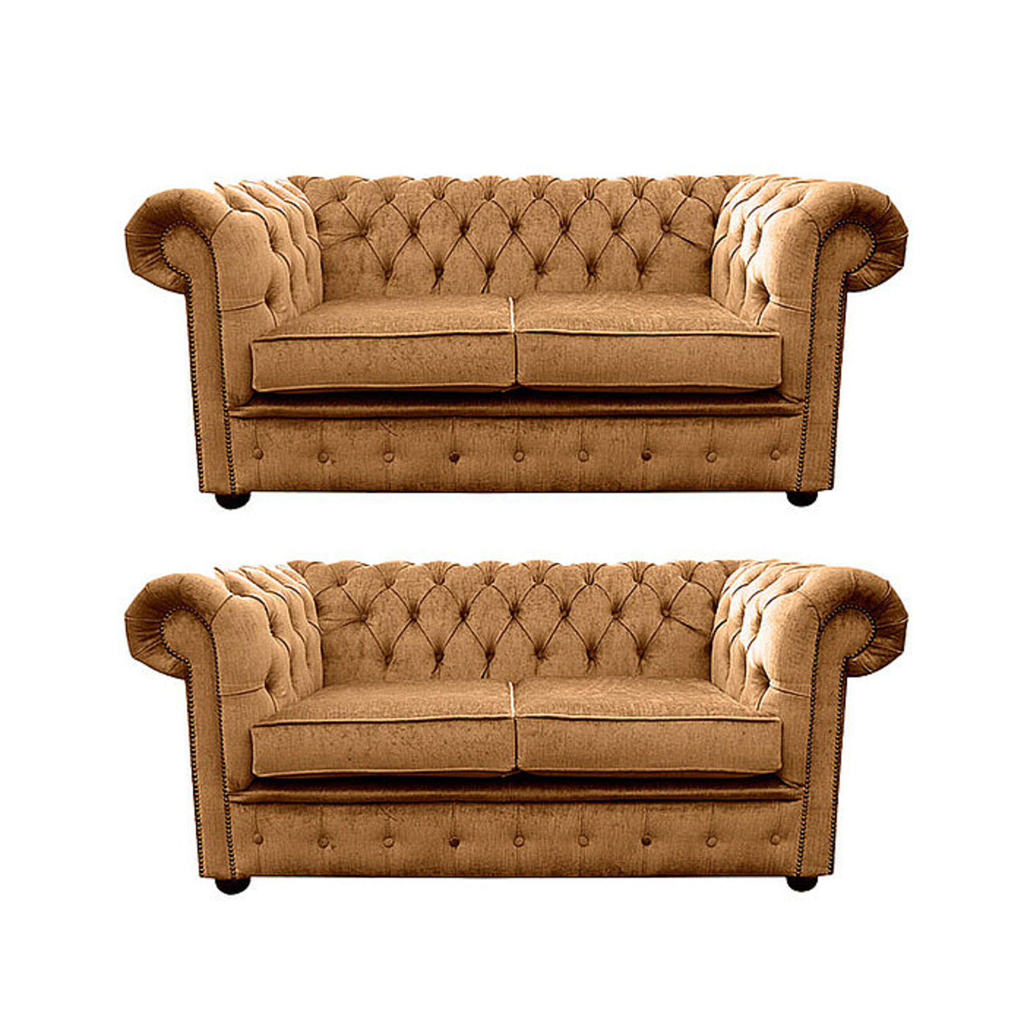 Chesterfield 2 Seater + 2 Seater Settee Harmony Gold Velvet Sofa Suite Offer