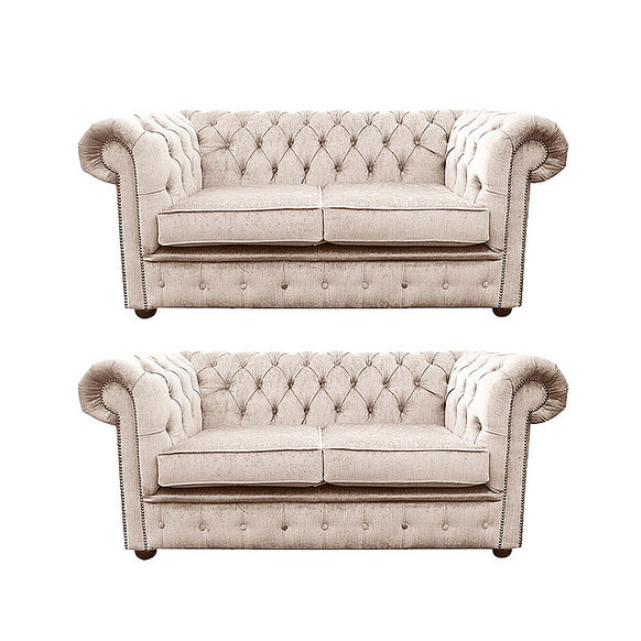 Chesterfield 2 Seater + 2 Seater Settee Harmony Ivory Velvet Sofa Suite Offer