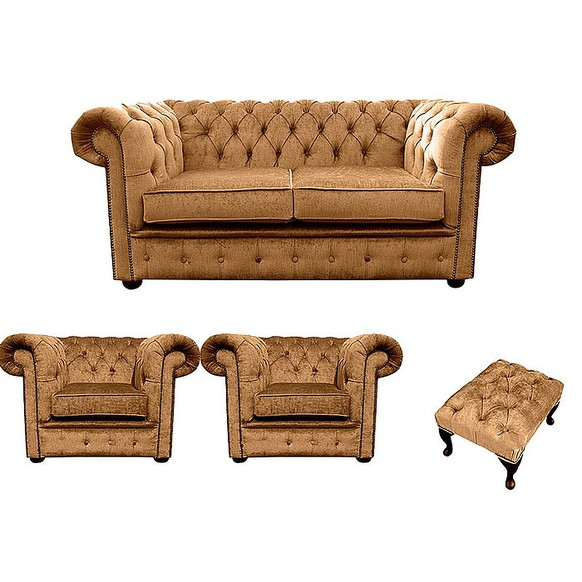 Chesterfield 2 Seater + 2 x Club chairs + Footstool Harmony Gold Velvet Sofa Suite Offer