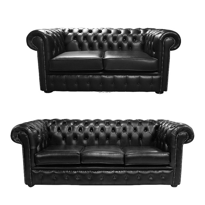 Chesterfield 2 Seater + 3 Seater Sofa Old English Black Leather Sofa ...