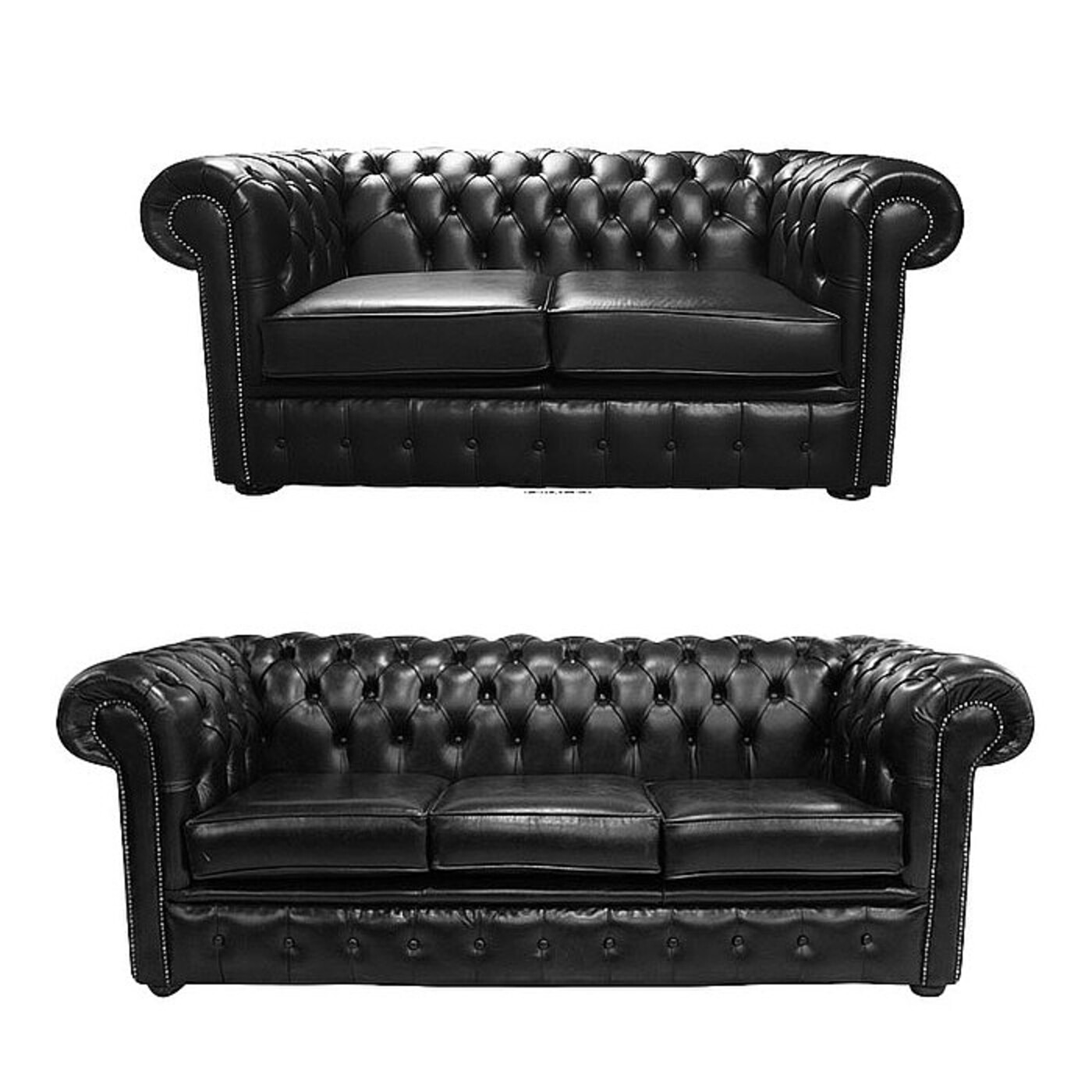 Chesterfield 2 Seater + 3 Seater Sofa Old English Black Leather Sofa Offer