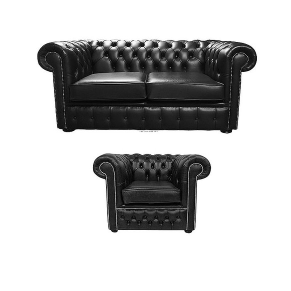 Chesterfield 2 Seater + Club Chair Old English Black Leather Sofa Offer