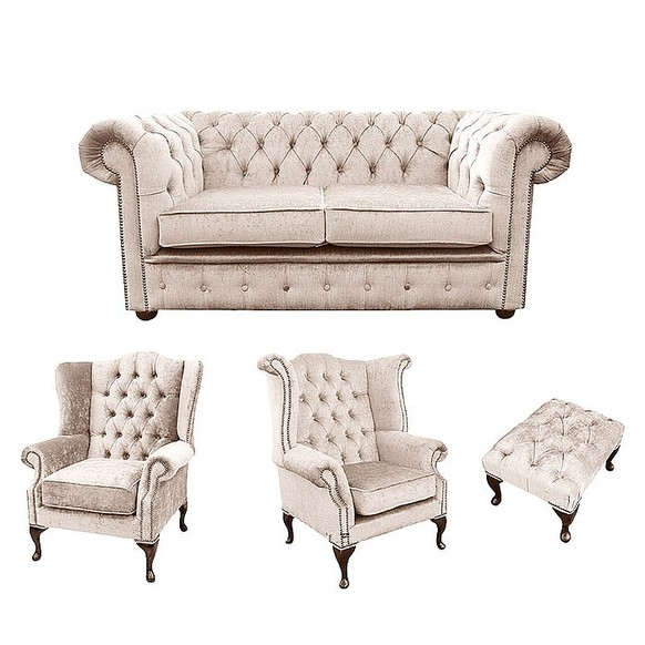 Chesterfield 2 Seater Sofa + 1 x Mallory Wing Chair + 1 x Queen Anne Wing Chair + Footstool Harmony Ivory Velvet Sofa Suite Offer