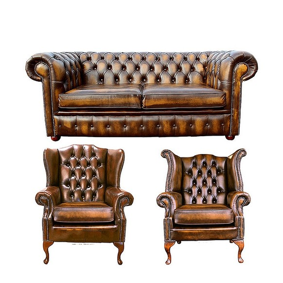 Chesterfield 2 Seater Sofa + 1 x Mallory Wing Chair + 1 x Queen Anne Wing Chair Leather Sofa Suite Offer Antique Gold