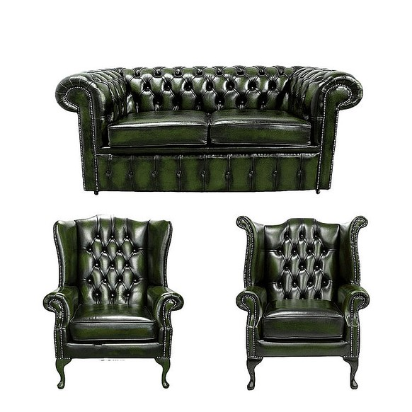 Chesterfield 2 Seater Sofa + 1 x Mallory Wing Chair + 1 x Queen Anne Wing Chair Leather Sofa Suite Offer Antique Green