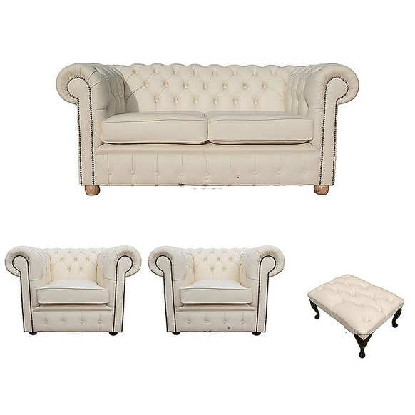 Chesterfield 2 Seater Sofa + 2 x Club Chairs + Footstool Leather Sofa Suite Offer Cottonseed Cream