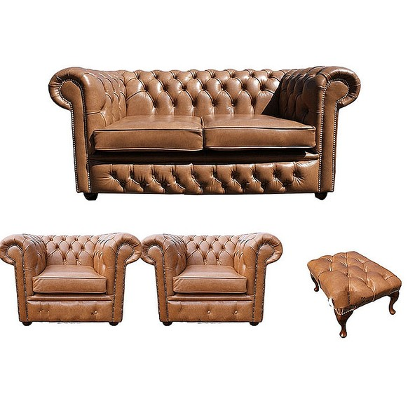 Chesterfield 2 Seater Sofa + 2 x Club Chairs + Footstool Old English Tan Leather Sofa Offer
