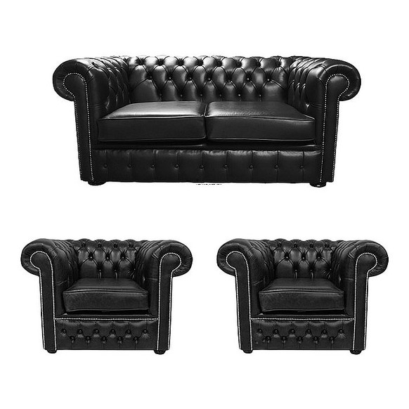 Chesterfield 2 Seater Sofa + 2 x Club Chairs Old English Black Leather Sofa  Offer