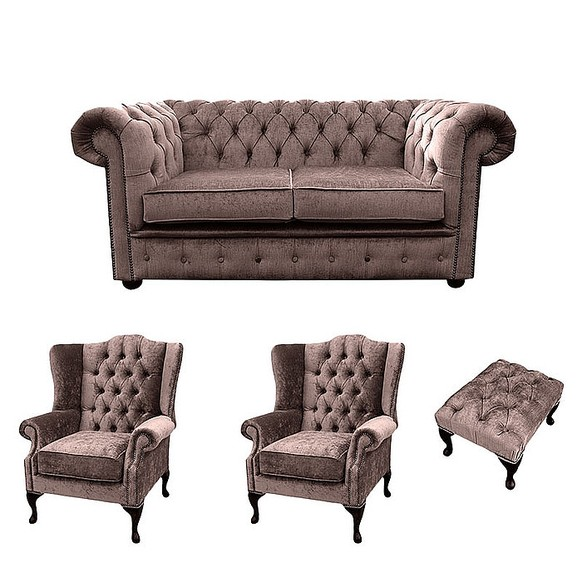 Chesterfield 2 Seater Sofa + 2 x Mallory Wing Chair + Footstool Harmony Charcoal Velvet Sofa Suite Offer