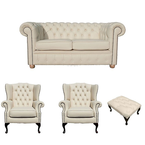 Chesterfield 2 Seater Sofa + 2 x Mallory Wing Chair + Footstool Leather  Sofa Suite Offer Cottonseed Cream