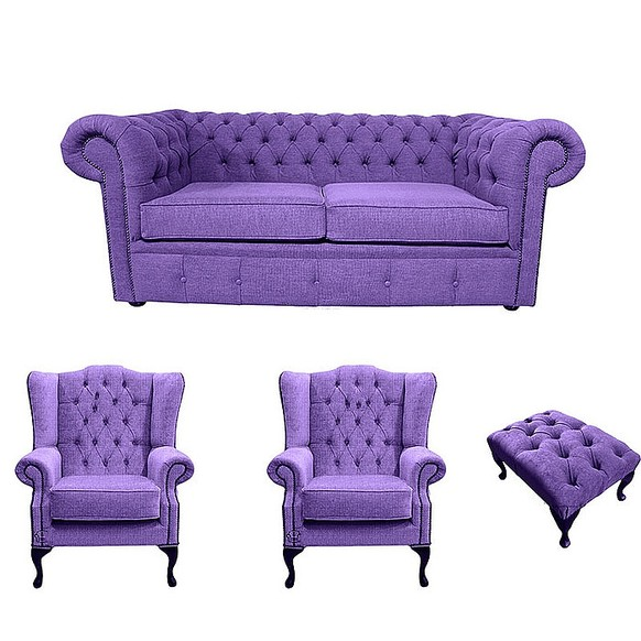 Chesterfield 2 Seater Sofa + 2 x Mallory Wing Chair + Footstool Verity Purple Fabric Sofa Suite Offer