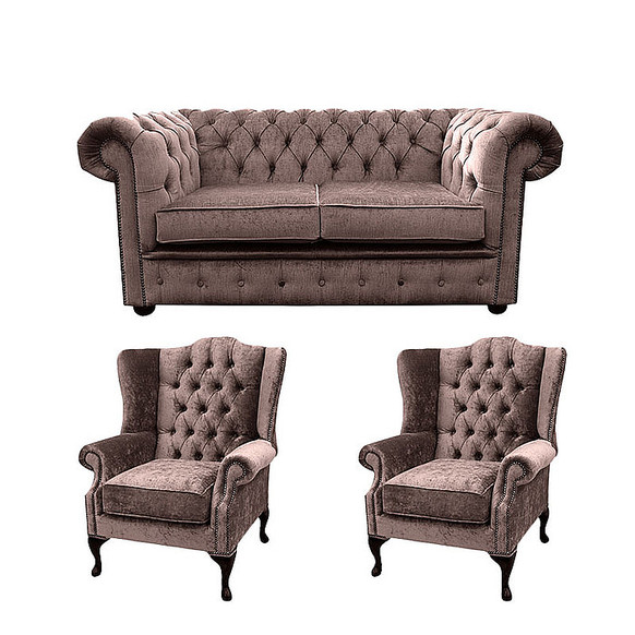 Chesterfield 2 Seater Sofa + 2 x Mallory Wing Chair Harmony Charcoal Velvet Sofa Suite Offer